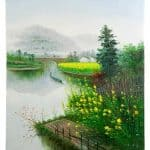 IN STOCK - $480 - Oil Painting on Canvas Chinese Lake View- 80x100cm