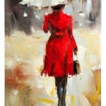 IN STOCK - $350 - Oil Painting Lady in Red with Umbrella - 60x90cm