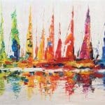 IN STOCK - $440 - Unframed Oil Paint - Abstruct Sail Boat 2 - 70x140cm