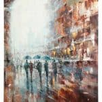 IN STOCK - $480 - City in Rain - 90x120cm