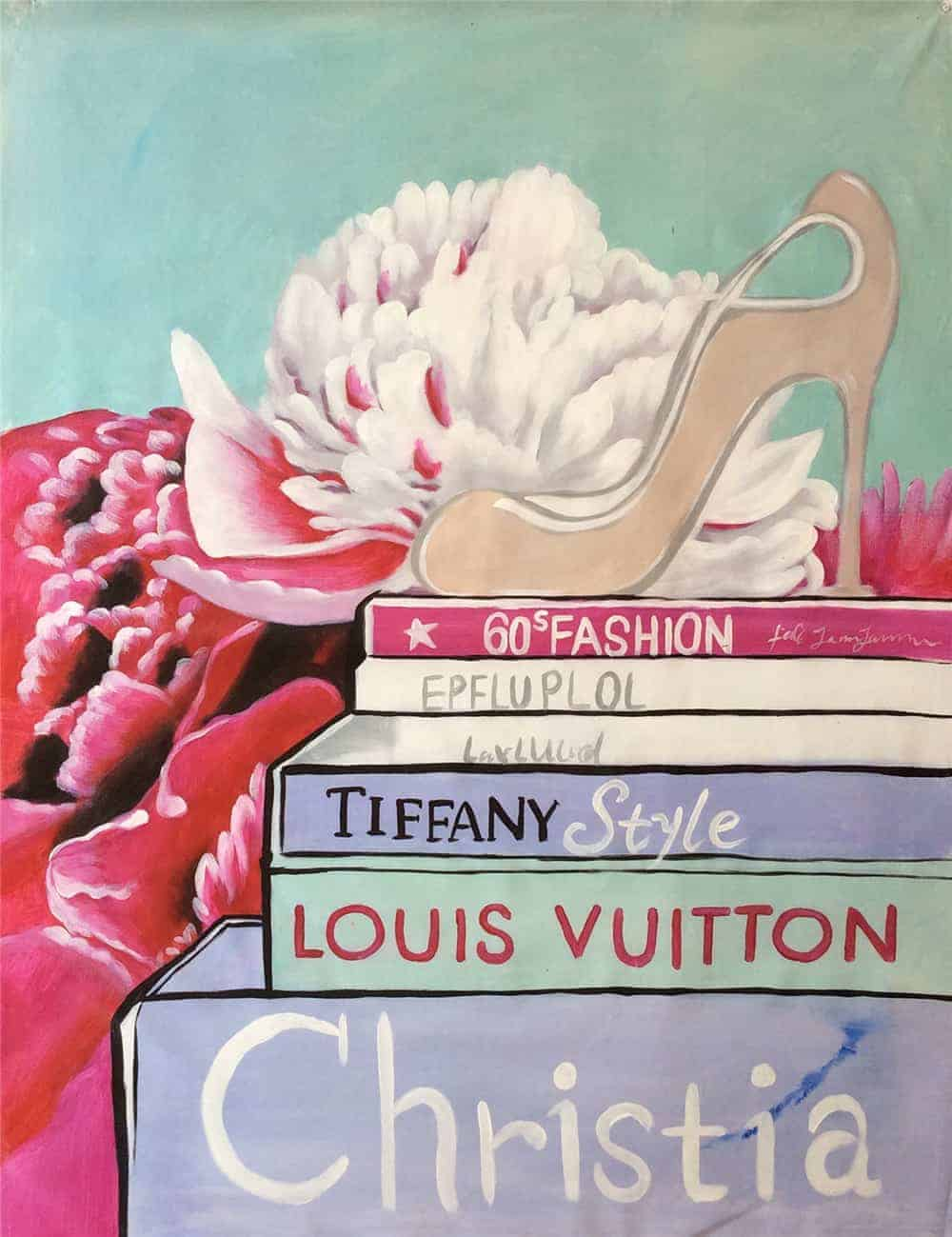 IN STOCK - $440 - Unframed Oil Paint - Fashion Books Feature LV 2 - 90x120cm - Price: $400 IN STOCK