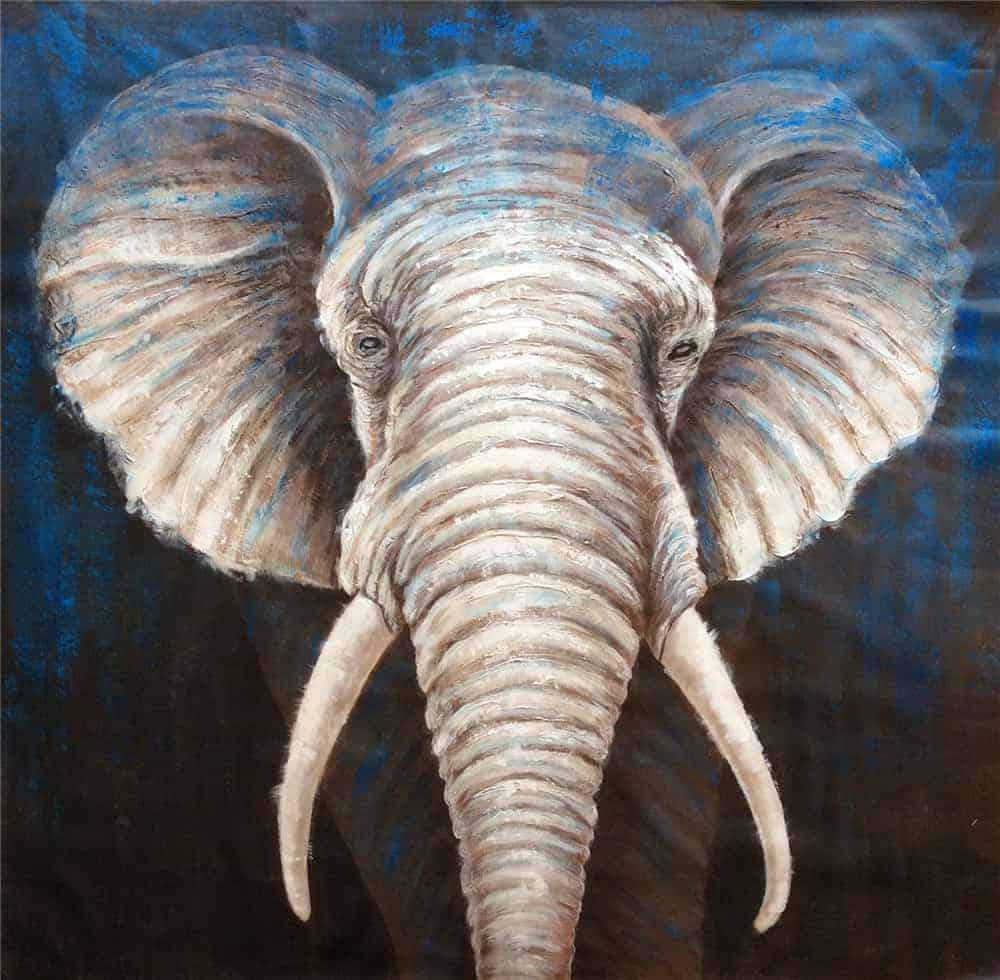 IN STOCK - $880 - Unframed Oil Paint - Massive Elephant - 150x150cm