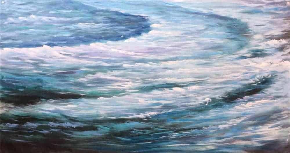 IN STOCK - $440 - Unframed Oil Paint - Ocean Waves 2 - 70x140cm