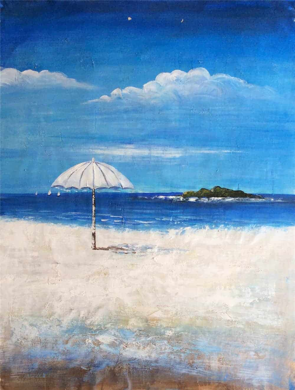 IN STOCK - $440 - Unframed Oil Paint - Summer Day on Beach - 90x120cm