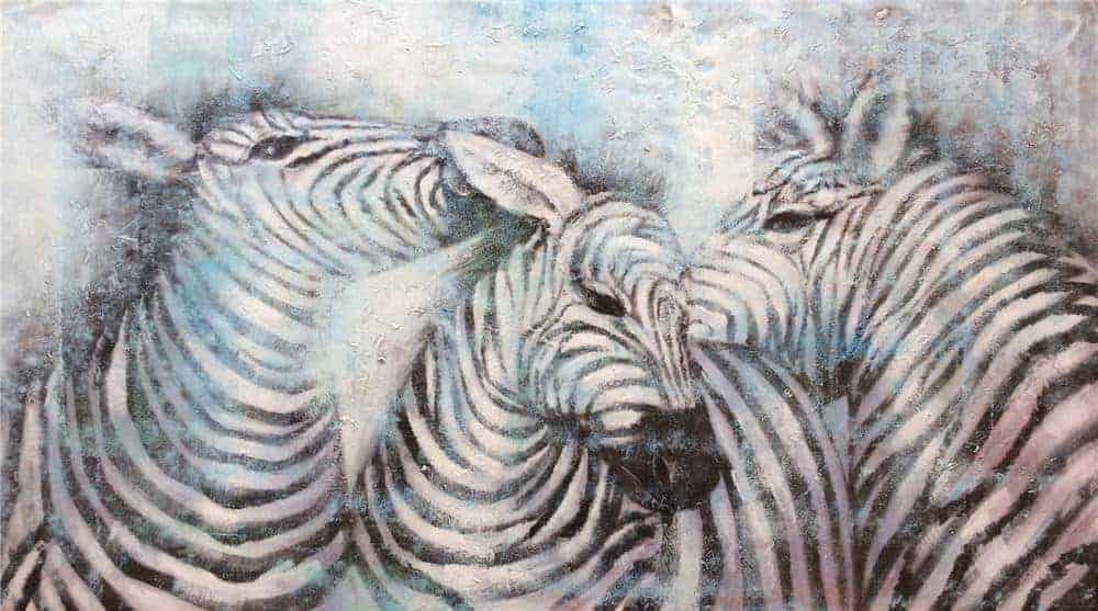 IN STOCK - $440 - Unframed Oil Paint - Zebra 2 - 70x140cm