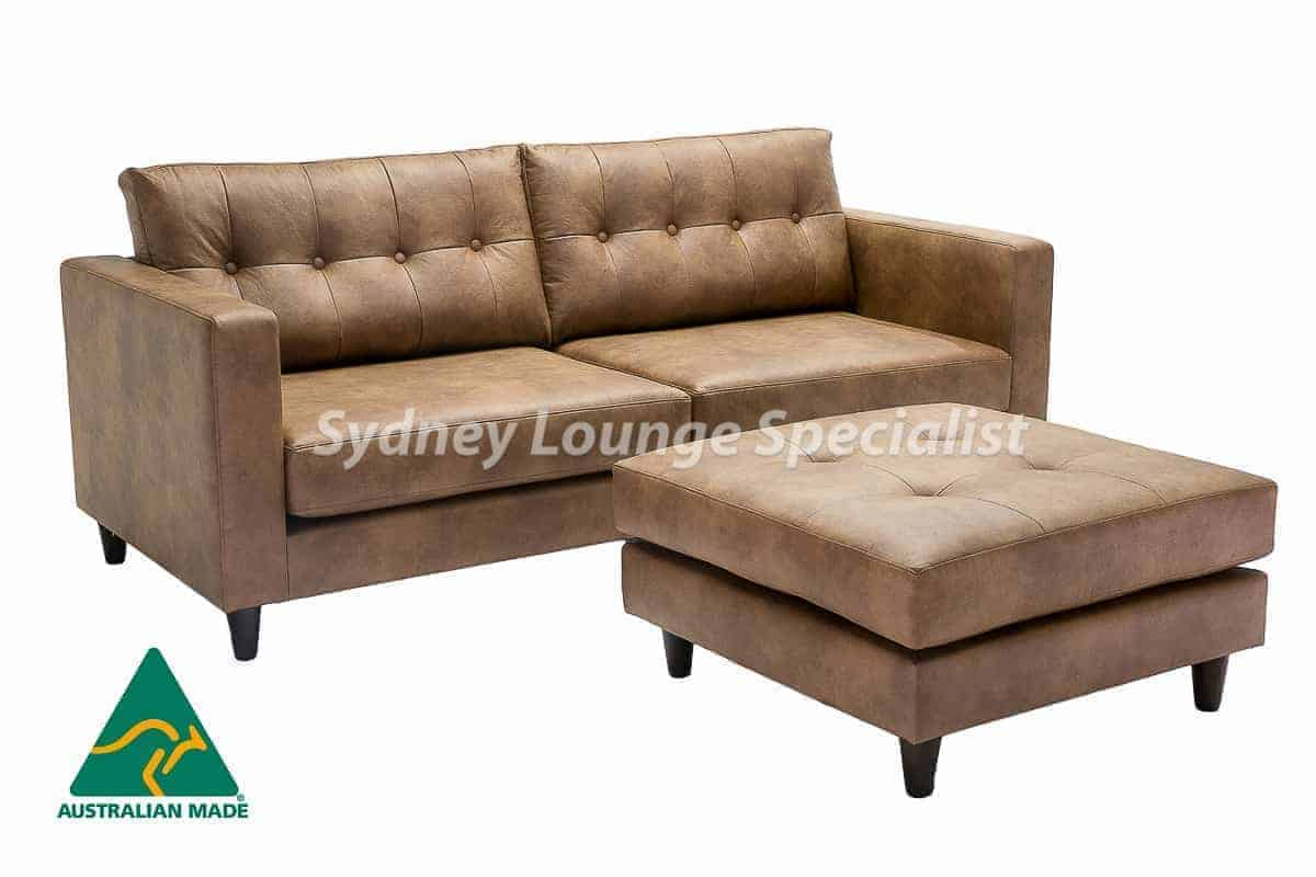 Australian Made 3 seater sofa lounge with button leather (2)-2