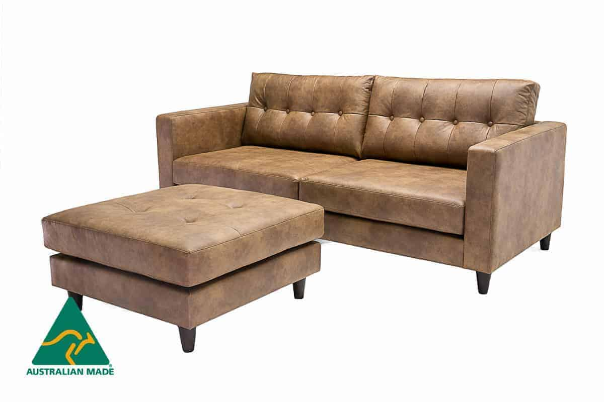 Australian Made 3 seater sofa lounge with button leather (3)