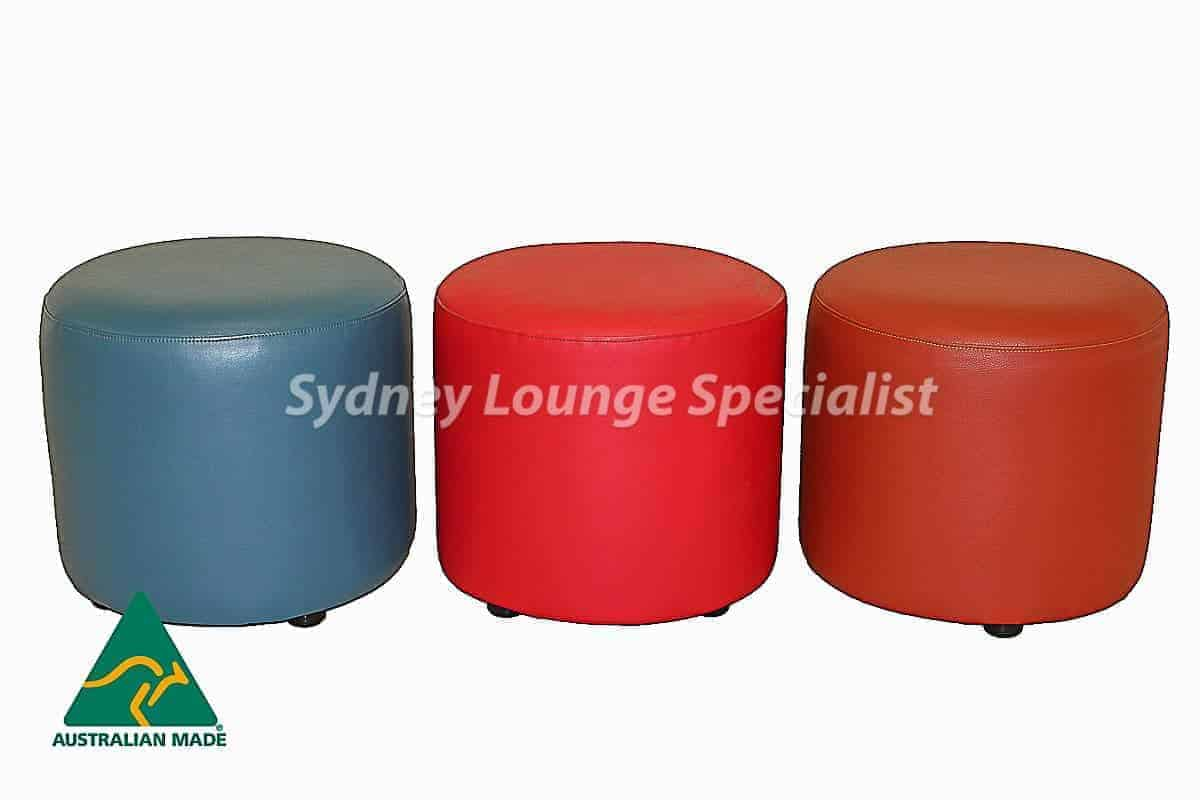 Commercial Round ottoman Australian made warwick fabric