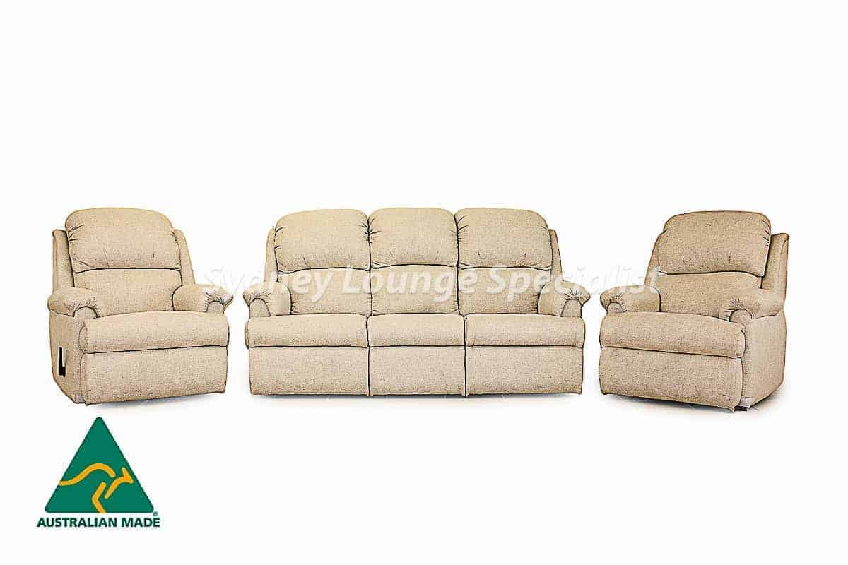 Hilton 3 Seater + 2 X Recliner Chair (Fabric) Australian made