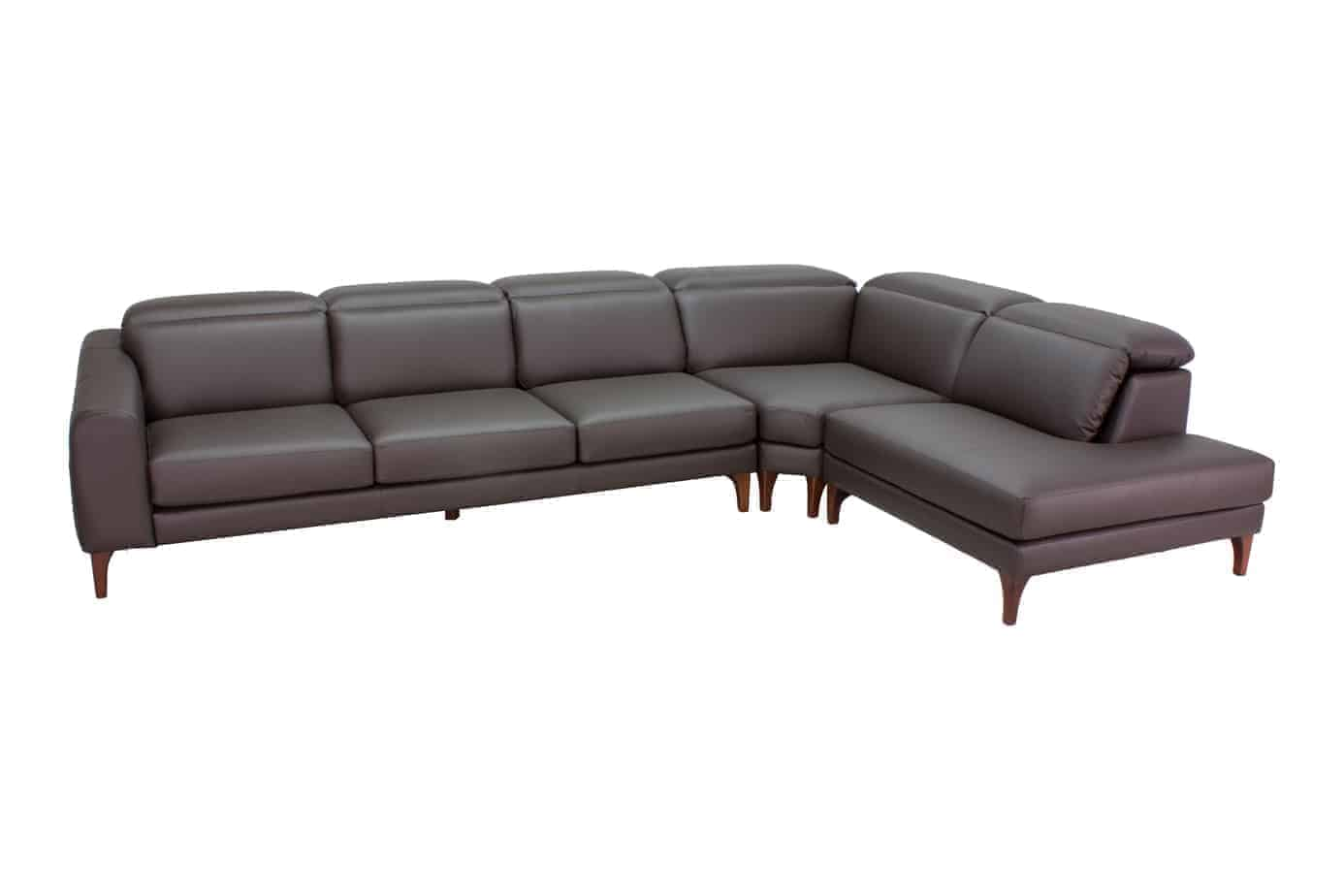 Tennyson Chaise Corner Modular Lounge With Adjustable Headrest -Leather