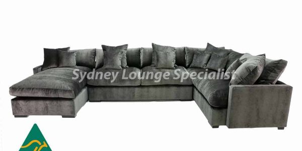 Large suede modular sofa lounge available at Sydney Lounge Specialist