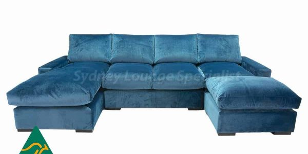 Large blue suede modular lounge available at Sydney Lounge Specialist